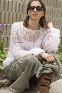 Hand knitted mohair womens sweater hand made boho style white and gold READY TO SHIP Loose Knit Sweaters, Fit S, Boho Style, Hand Knitting, Boho Fashion, Bell Sleeve Top, Sweaters For Women, Ruffle Blouse, Etsy Shop