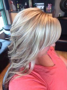 Cool blonde highlights curls