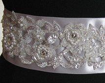 Серебряный Люкс Саш, Цветок Свадебный Саш, шнурка Bridal пояса, Оловянная, себе Лента- ГЭЙЛ