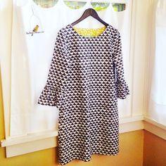 Blog — Lakes Makerie, Minneapolis. Bell Sleeve shift dress in Hemma by Lotta Jansdotter fabric.