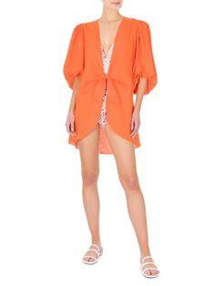 Camisa Feminina Longa De Amarrar Serpente - Adriana Degreas - laranja - Shop2gether Kaftan, Summer Looks, Rompers, Dresses, Fashion, Orange Dress Shirt, Long Shirts, Men's Fashion Brand, Shoulder Pads