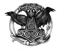 "✖️✖️ ✖️✖️ For more images ""In Norse mythology, Mjölnir is the hammer of Thor, the Norse god of thunder. Distinctively shaped, Mjölnir is depicted in Norse mythology as one of the most fearsome weapons, capable of leveling mountains. Viking Raven, Viking Art, Viking Shield, Hugin Munin Tattoo, Escudo Viking, Corvo Tattoo, Norse Mythology Tattoo, Nordic Tattoo, Viking Symbols"