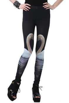 "Swan Print Skinny Leggings. Description ""Swan"" print leggings. Features slim fit with elastic waist and soft-touch fabric. Fabric 97%Polyester,3%Spandex Washing 40 degree machine wash, do not bleach , do not tumble dry, do not dry clean. #Romwe"