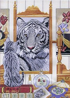 "Silver Tabby & Tiger (Tiger Wannabee) Cross Stitch Kit - 11.25"" x 16"" ANCHOR http://www.amazon.co.uk/dp/B00NL8C0IS/ref=cm_sw_r_pi_dp_GEUfub1E8AJ61"