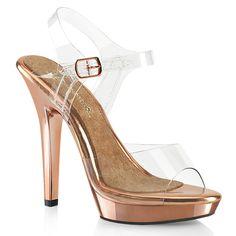 Sandalette LIP-108 - Rose Gold | Verchromte High Heels Sandalette mit farblich abgesetzer Innensohle der Marke Fabulicious by Pleaser. Plateau High Heels für Pole Dance, Exotic Dancing und alles was Spaß macht. #plateaus #schuhe #damen #platform #platforms #shoes Crazy Heels, Rose Gold Chrome, Metallic Heels, Ankle Strap, Peep Toe, High Heels, Platform, Lips, Footwear