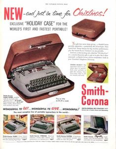 Vintage Christmas Tech Ads from The Saturday Evening Post Christmas Ad, Christmas Lights, Vintage Christmas, Holiday, Smith Corona Typewriter, Portable Typewriter, Saturday Evening Post, Gift Of Time, Santa Letter