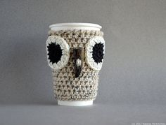 Grey Owl Coffee Sleeve, Rustic Coffee Cup Sleeve Gray Crochet Cup Cozy Neutral Earth Forest Woodland Nature Winter Modern ohtteam theteam on Etsy, $30.00