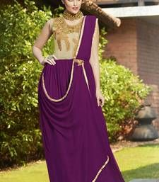 Buy Wine georgette embroidered semi stitiched party wear gown party-wear-gown online