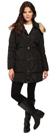 Jessica Simpson Cinched Waist Puffer w/ Hood and Removable Faux Fur (Black) Women's Coat - Jessica Simpson, Cinched Waist Puffer w/ Hood and Removable Faux Fur, JOHMP413-001, Apparel Top Coat, Coat, Top, Apparel, Clothes Clothing, Gift - Outfit Ideas And Street Style 2017