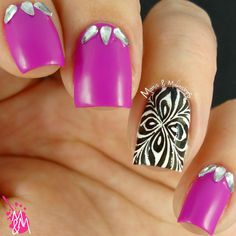 Manis & Makeovers: Neon with a touch of black 'n white