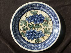 Boleslawiec Polish Pottery Plate Grapes Poland