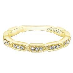 14k Yellow Gold Diamond Stackable