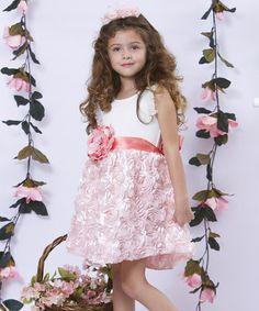 Another great find on #zulily! Pink & Cream Rosette Sash Dress - Toddler & Girls by Mia Belle Baby #zulilyfinds
