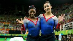 Simone Biles and Aly Raisman win gold and silver in the floor exercise to end Rio Games gymnastics competition Gymnastics Competition, Sport Gymnastics, Olympic Gymnastics, Simone Biles, Aly Raisman, Nbc Olympics, Summer Olympics, Gymnastics Posters, Gymnastics Pictures