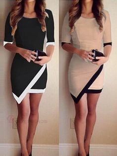 Chic O-Neck Half Sleeve Nipped Waist Contrast Color Women Bodycon Dress #dress #fashion
