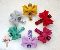 PICK 2  Hair Clips  Glitter and Felt Bow Hair Clip by SherbertLane, $8.00