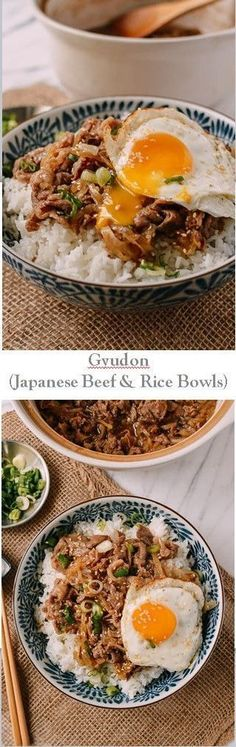 the 4 Cycle Solutions Japanese Diet - Gyudon (Japanese Beef Rice Bowls) recipe by the Woks of Life Discover the Worlds First & Only Carb Cycling Diet That INSTANTLY Flips ON Your Bodys Fat-Burning Switch Beef Rice Bowl Recipe, Mirin Recipe, Donburi Recipe, Onigiri Recipe, Read Recipe, Gyudon, Carb Cycling Diet, Japanese Diet, Asian Food Recipes