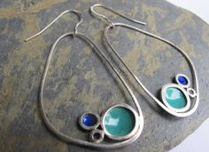 Items similar to Large turquoise drop earrings- dangle earrings with turquoise and blue enamel on Etsy Sterling Silver Dangle Earrings, Big Earrings, Drop Earrings, Enamel Jewelry, Jewelery, Silver Jewelry, Heather Stephens, Earrings Handmade, Handmade Jewelry