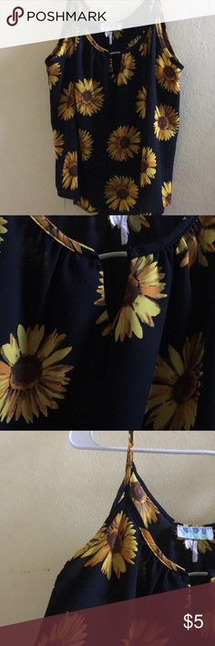 Sleeveless sunflower blouse. Sleeveless blouse. Black with sunflowers  With open front Tops Blouses