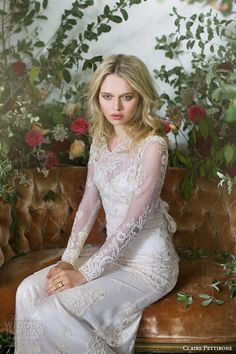 CLAIRE PETTIBONE #bridal #couture fall 2016 long sleeves illusion v neck sweetheart neckline fully embellished vintage elegant lace sheath #wedding dress illusion back sweep train (pearle) zv