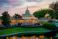 Love love love sunsets at WDW! Nothing can reflect colors as magically as anything at WDW.   ---   Magic Kingdom - A Crystal Sunset - Crystal Palace