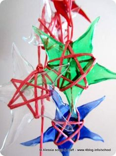 Stars made of recycled PET bottles