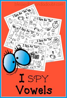 FREE I Spy Vowel Printables! Several different ways to use these CUTE printables.