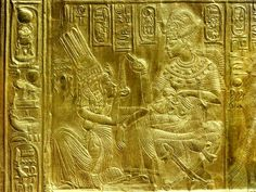 Gilt Shrine Showing the King Pouring Perfumed Liquid into the Queen's Hand, Thebes, Egypt