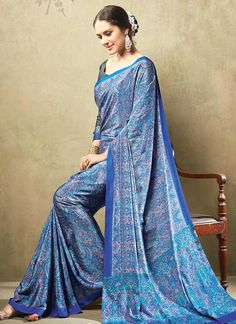 Intricate Crepe Silk Blue Print Work Casual Saree