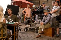"on the set | Javier Bardem and Woody Allen in ""Vicky Cristina Barcelona"" (2008)"