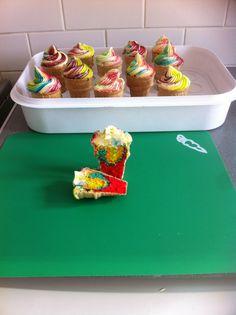 Rainbow ice cream cakes