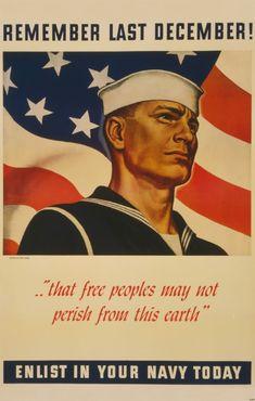 WWII Pearl Harbor theme recruitment ad. John Falter art.