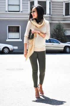 9to5Chich ----- Sweater - thanks to Theory (here) Pants - H Maternity (similar here under $50) Scarf - Burberry Cuff - Tory Burch (new style here) Bracelet - J.Crew Clutch - Derek Lam Sandals - Alexander Wang (here and here) Sunglasses - Celine thanks to Polyvore