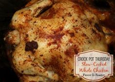 This Crockpot Whole Chicken is a healthy and delicious crockpot chicken recipe the entire family will love!