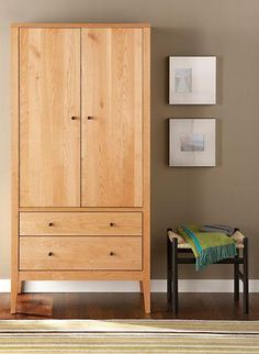 The modern Calvin armoire combines classic style with the time-tested durability and beauty of solid wood.