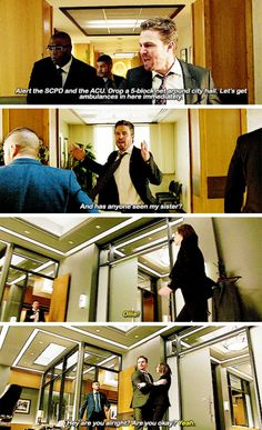 """""""Has anyone seen my sister?"""" - Oliver, Rene and Thea #Arrow"""