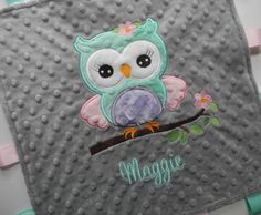 Personalized Owl Baby Blanket Minky Baby by TheCherryCheetahs, $19.99