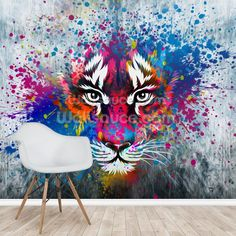 Tiger Art mural wallpaper room setting.  Which wallpaper should I use in a teen's room? Bright wall mural perfect for a teenagers room. Transform your room with this tiger art wall mural. Perfect for teenage bedrooms, this striking graffiti mural is sure to create the ultimate feature wall. Featuring a rainbow of bright colours, this graffiti tiger wallpaper mural will introduce colour to your space no matter what size. #wallpaper #wallpaperidea #teenbedroomideas