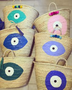 personalized handpainted evileye straw baskets  by cotton prince www.cottonprince.gr