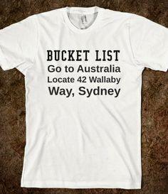 Australian Bucket List from Glamfoxx Shirts #bucketlist #australia #nemo #findingnemo #dory #wallabyway #movie #disney #disneyland #disneyworld