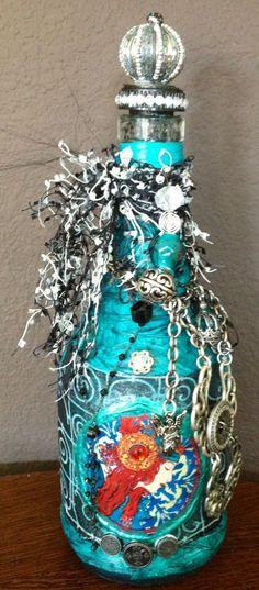 Mixed Media Art Bottles | decorated bottle mixed media