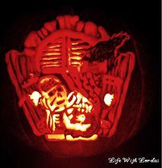 Pumpkin Carving of skeleton in the window