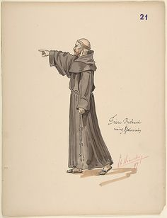 Brother Richard, a Franciscan Monk; costume design for Jeanne d'Arc by the Paris Opera Company, 1897