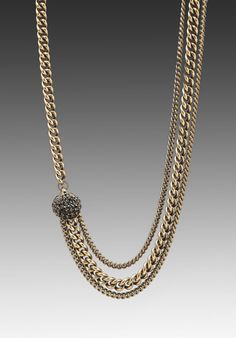 "GILES & BROTHER Encrusted Circe Chain Necklace in Antique Brass with Jet Pave at Revolve Clothing - Free Shipping! (19"")"