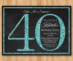 40th birthday invitation for Women. Blue Glitter by arthomer