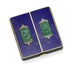 23b912be7 An enamel, jade, diamond, platinum and 14k gold compact, Tiffany & Co. Gold  BoxArt Deco ...