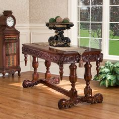 Hand-carved Solid Hardwood Replica Library Serving Table