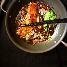 Schezwan {Szechuan} Eggplant Stir Fry in Anolon Pan