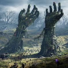ideas for dark fantasy landscape rpg Dark Fantasy Art, Fantasy Artwork, Fantasy Art Landscapes, Fantasy Concept Art, Fantasy Kunst, Fantasy City, My Fantasy World, Fantasy Castle, Final Fantasy
