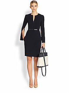 Akris - Belted Zip-Vent Wool Dress